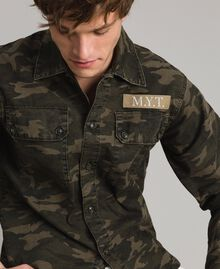 Baumwoll-Hemd mit Camouflage-Aufdruck Motiv Dunkel Camouflage Mann 191UT2020-01
