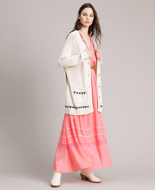 Hearts motif cotton maxi cardigan Pale Ecru Woman 191TP3111-03