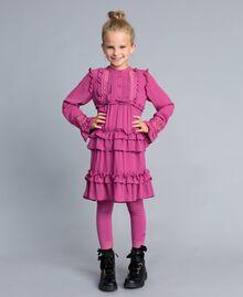 Leggings aus Jersey mit Spitze Schwarz Kind GCN2F4-02