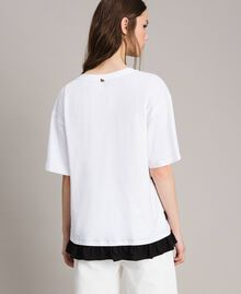 Maxi T-shirt  a righe con fiocco Panna White Donna 191MP206C-03