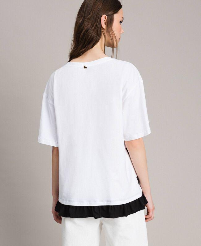 Maxi t-shirt rayé avec nœud Crème White Femme 191MP206C-03
