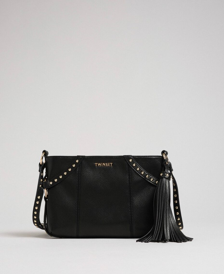 Faux leather shoulder bag with studs Black Woman 192TO8164-03