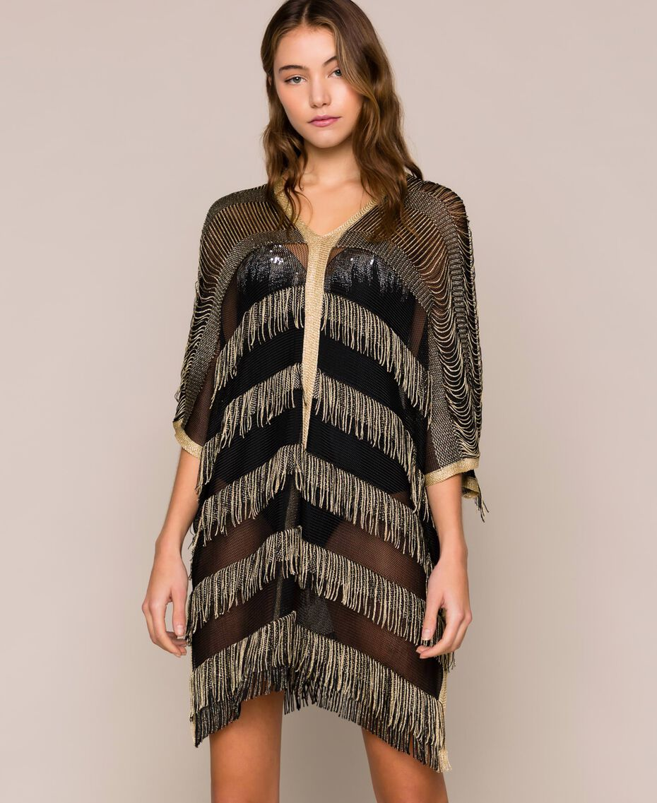 Lurex knit poncho with fringes Two-tone Gold / Black Woman 201LB49FF-02