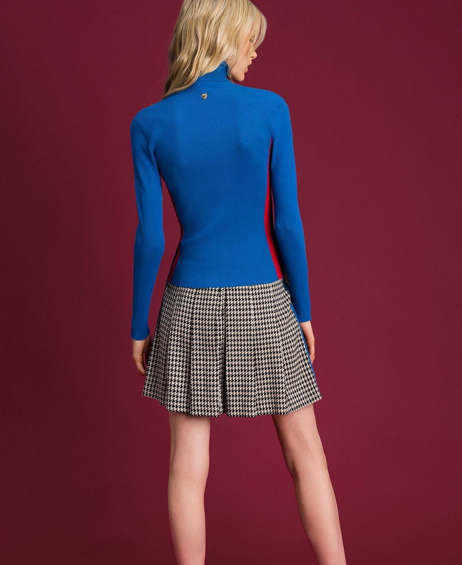 Ribbed turtleneck with colour block bands Curaçao Blue Woman 192MT3010-03
