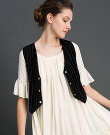 Dévoré velvet cropped waistcoat Black Woman 192MP2251-03
