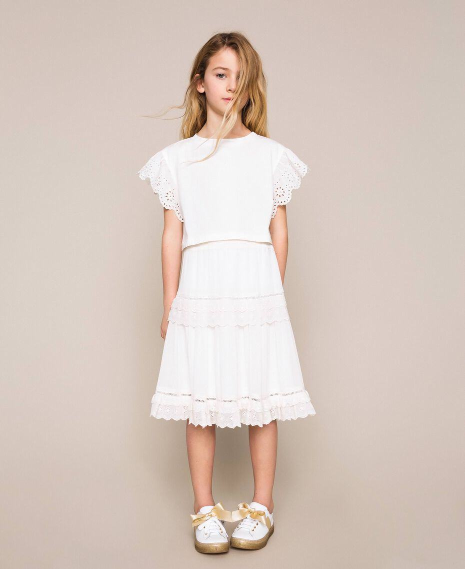 Creponne skirt with broderie anglaise Off White Child 201GJ2462-01