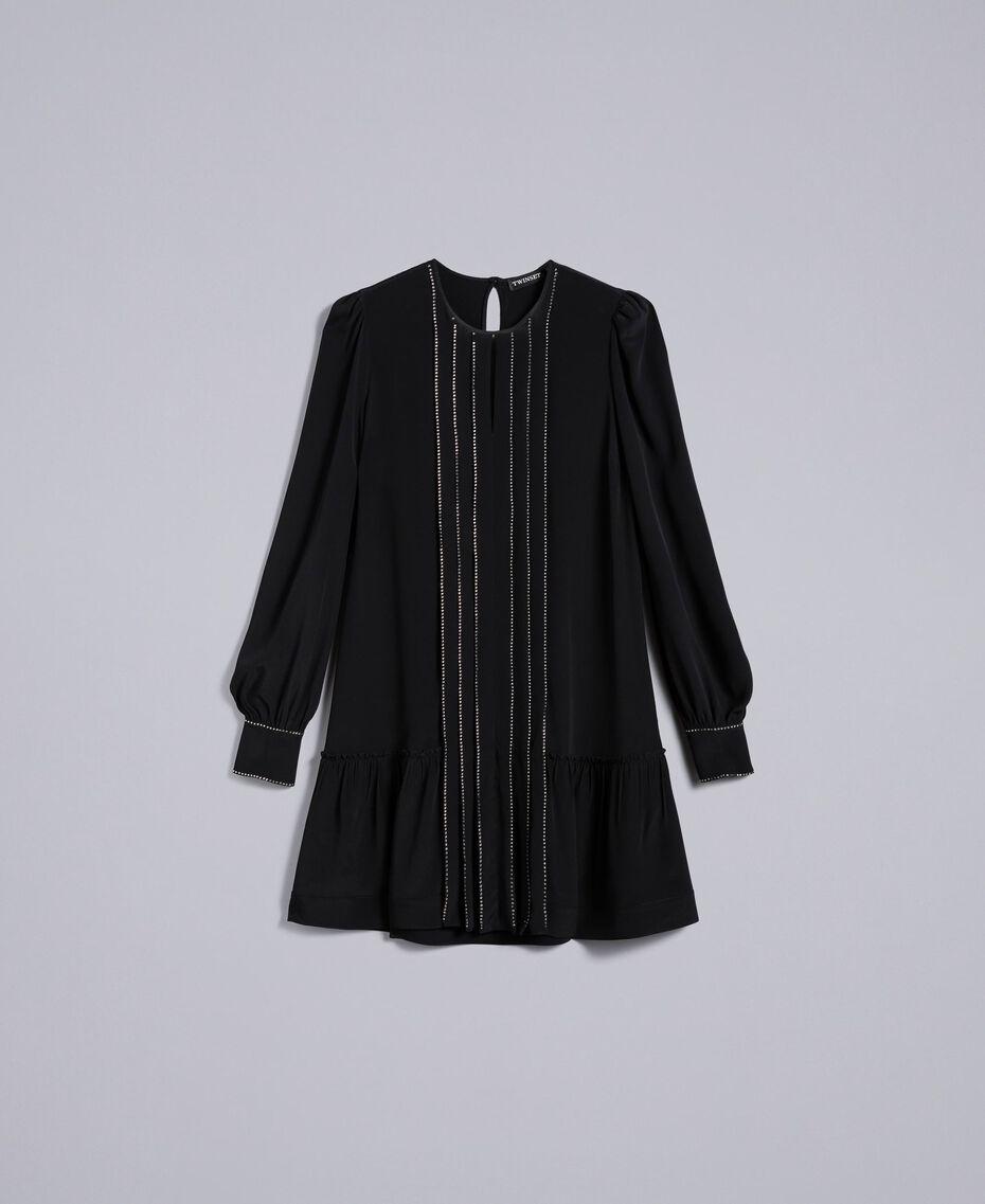 Kurzes Kleid aus Seidenmischung mit Strass Schwarz Frau TA8234-0S