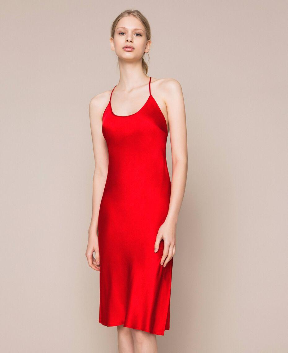 Satin slip Pomegranate Red Woman 201LL23YY-02