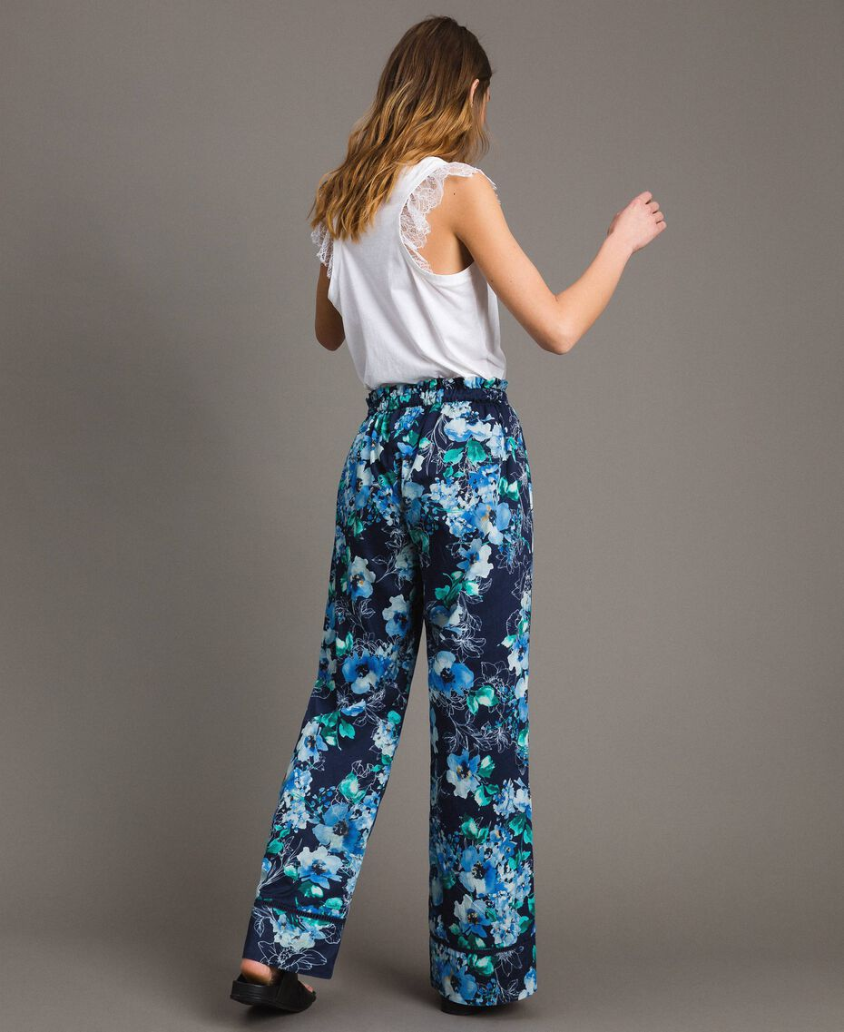 Pantalon palazzo avec imprimé floral Imprimé Fleur Multicolore Bleu Nuit Total Femme 191MT2293-03