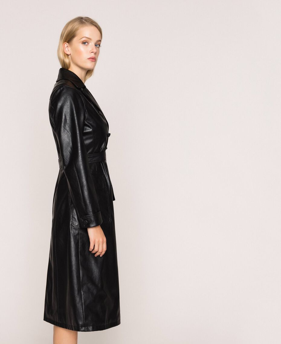 Faux leather trench coat with belt Black Woman 201MP2031-02