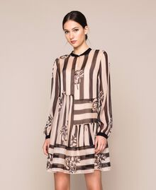 Creponne dress with stripes and flower print Floral Print over Snow/ Black Stripes Woman 201TP2301-01