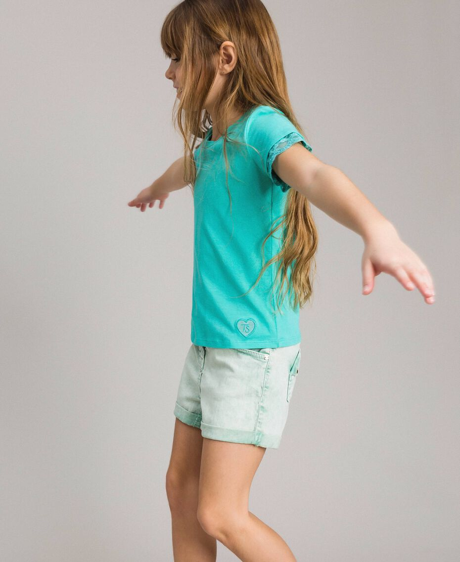 """Jersey T-shirt with lace """"Island Paradise"""" Light Blue Child 191GJ2180-0S"""