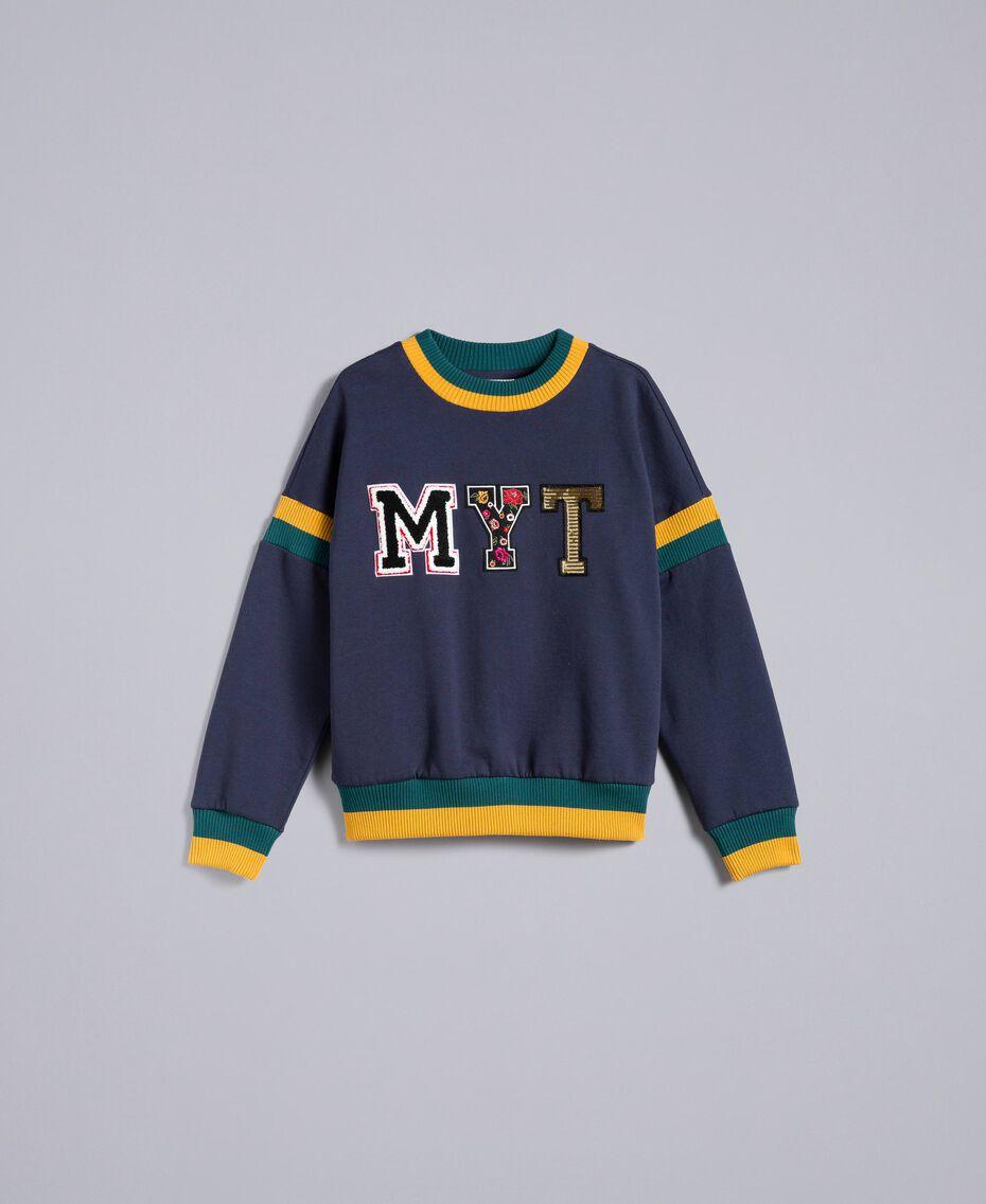 Cotton and wool patch sweatshirt Multicolour Night Blue / Jungle / Gold Woman YA82LQ-0S