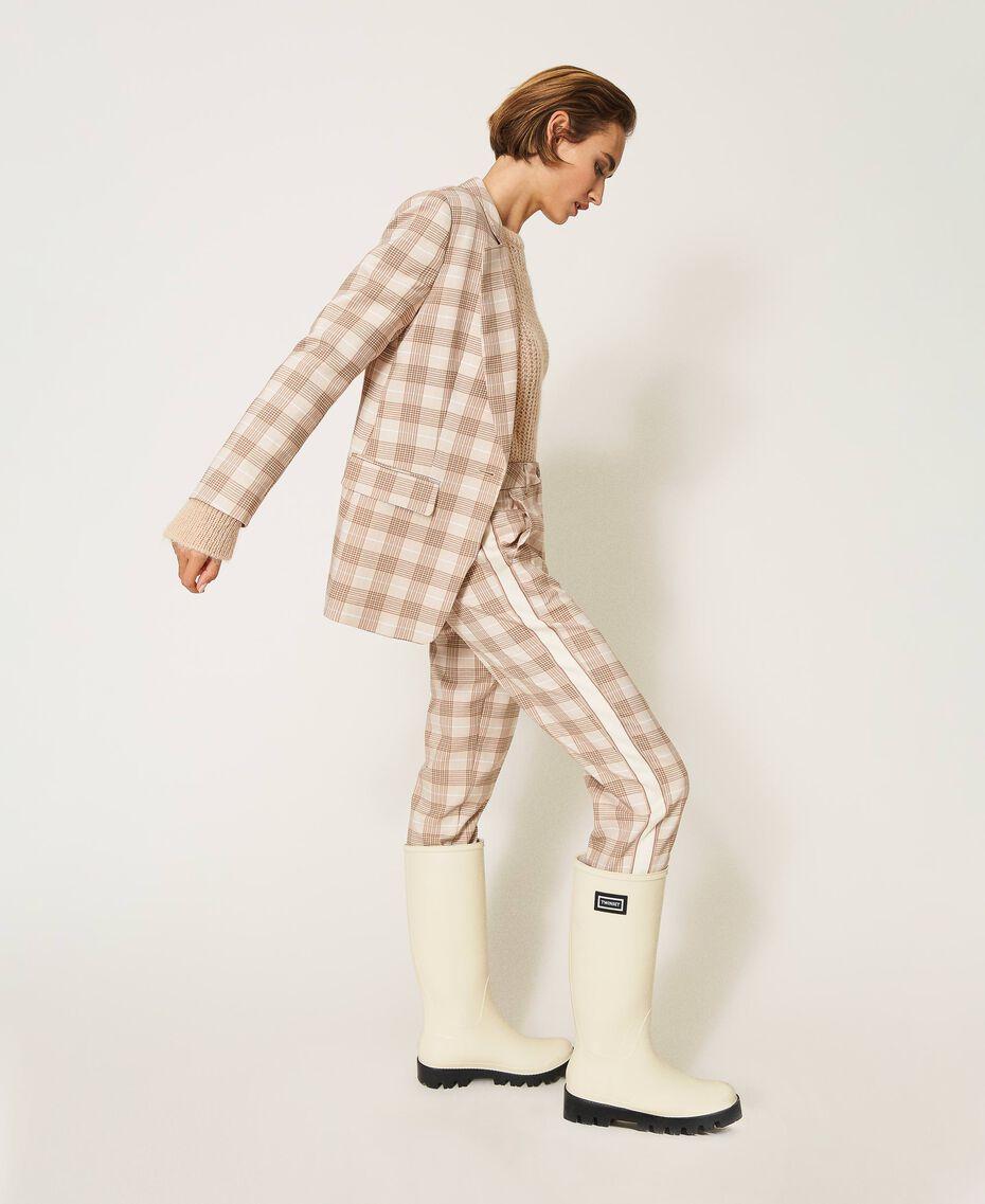 Pantalon cigarette en tissu à carreaux Prince-de-Galles Carreaux Blanc Crème / Beige «Dune» Femme 202MP228B-01