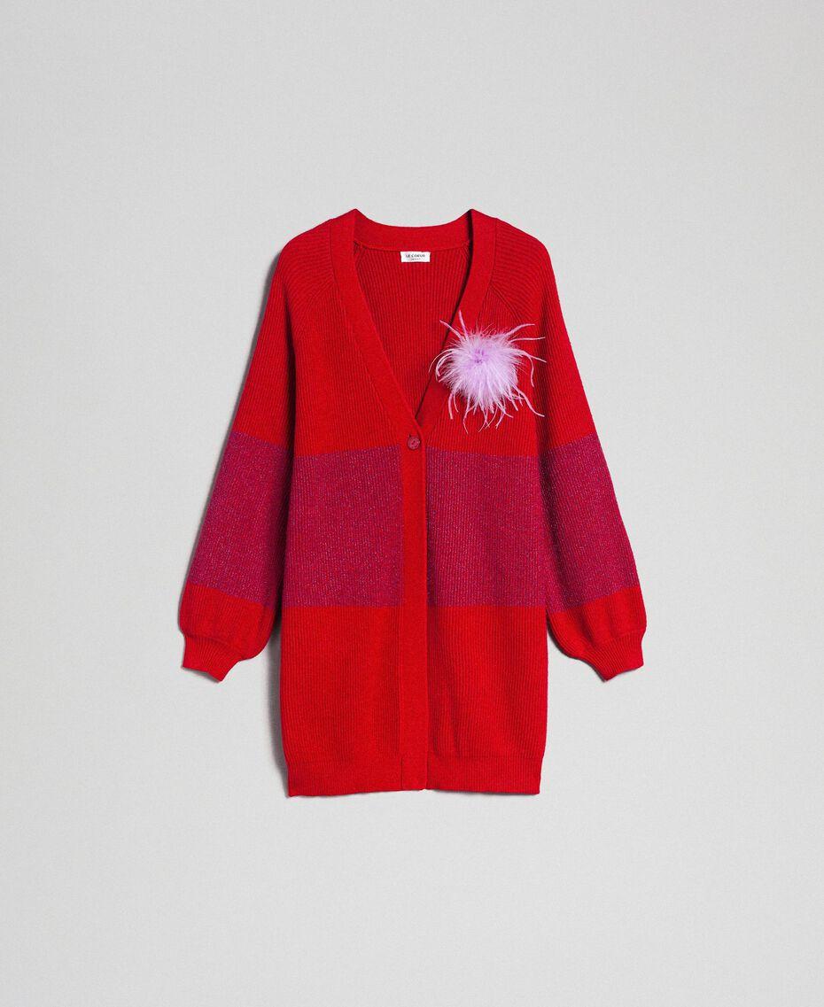 Maxi cardigan avec bande en lurex et broche Rayé Rouge «Samba» / Violet Femme 192ST3081-0S