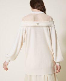Длинная трикотажная кофта из смесовой шерсти с тюлем Бело-кремовый женщина 202MP3092-03