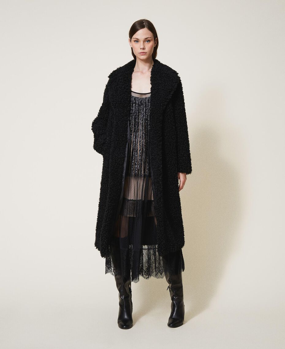 Manteau long en fausse fourrure Noir Femme 202MP2271-01