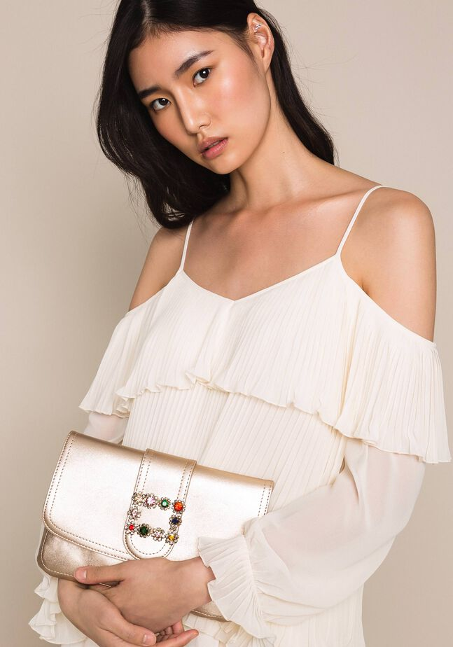 Faux leather pochette with decorative buckle