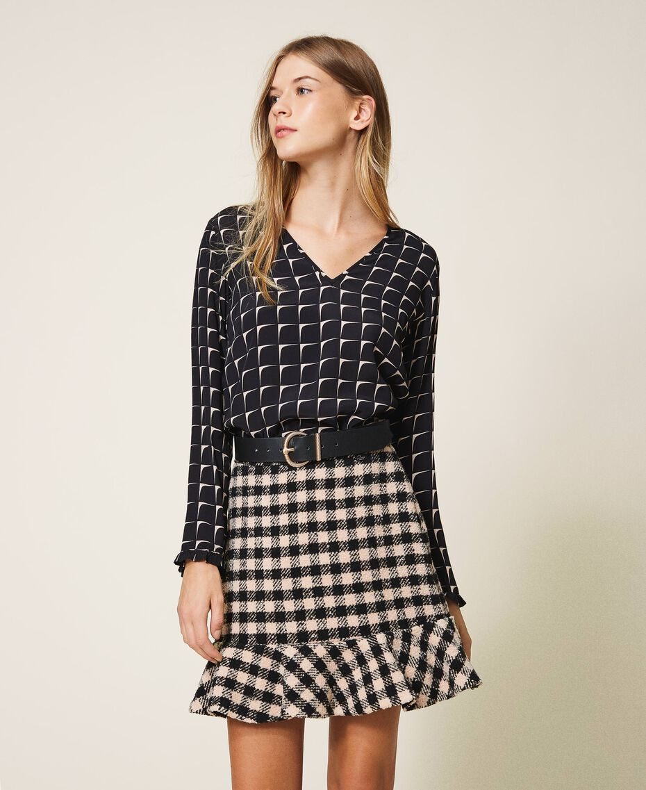 Chequered bouclé mini skirt with flounce Two-tone Black / Nude Woman 202ST2153-01