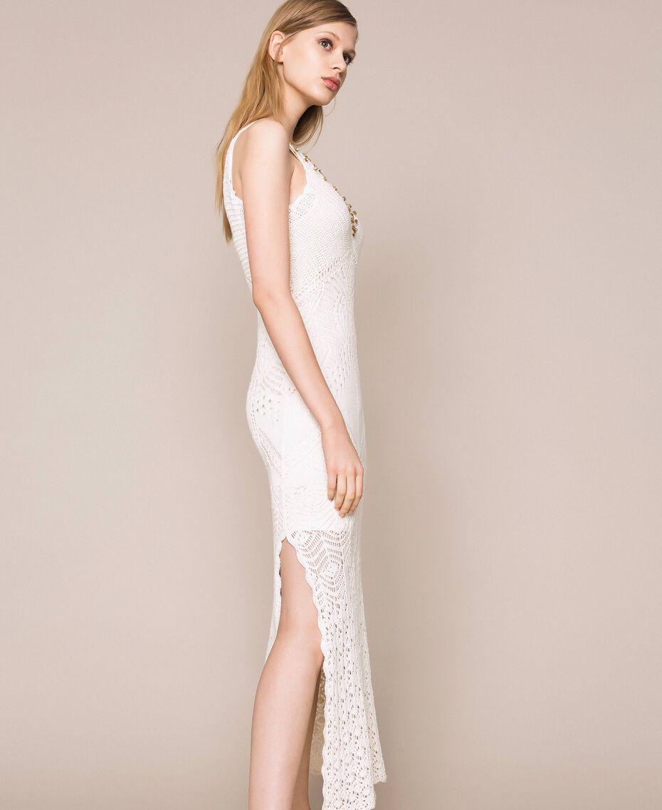 Robe longue crochet et broderies Blanc Neige Femme 201TT3150-02