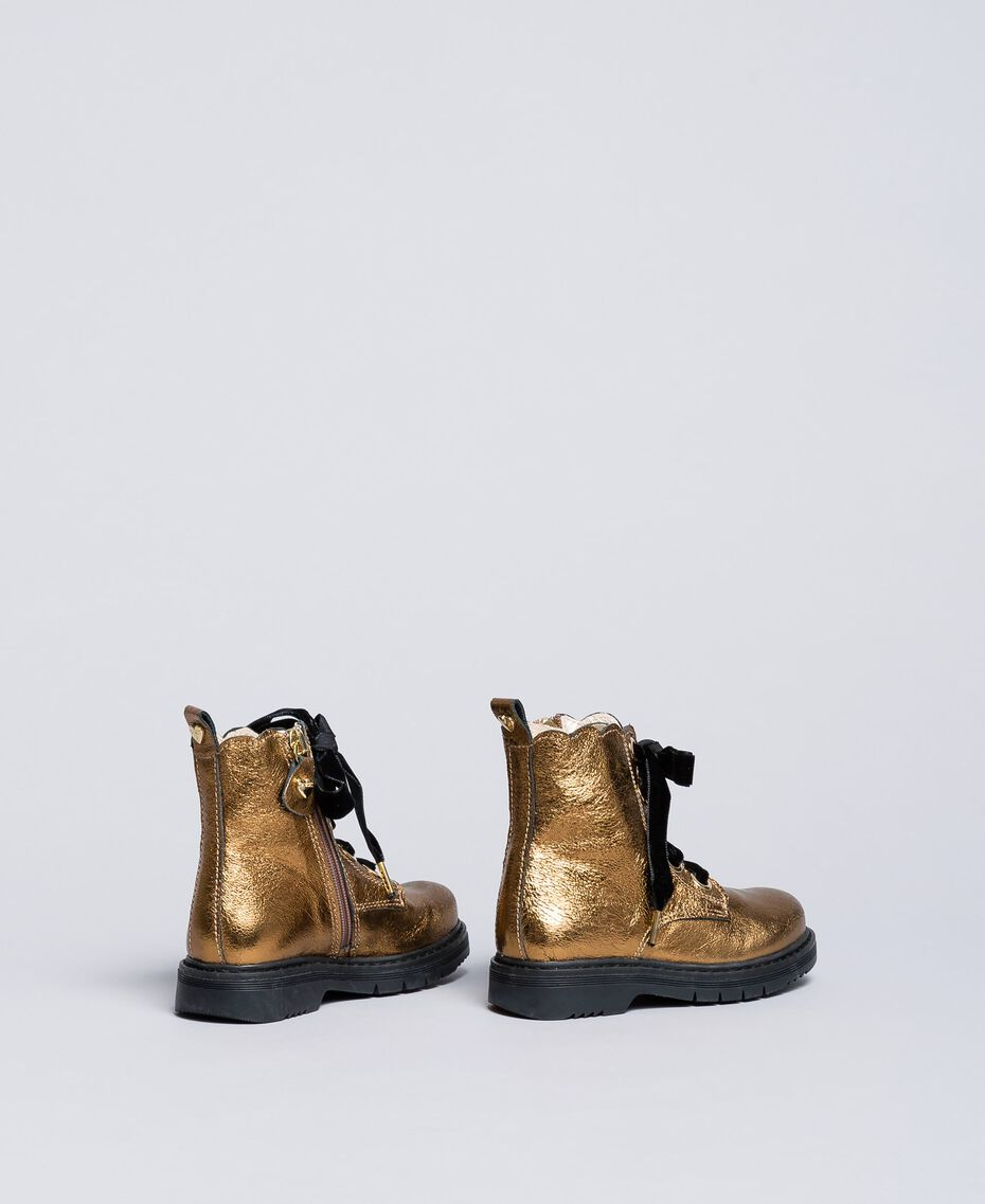 Bottines en cuir avec feston Marron Caramel Enfant HA86CC-03