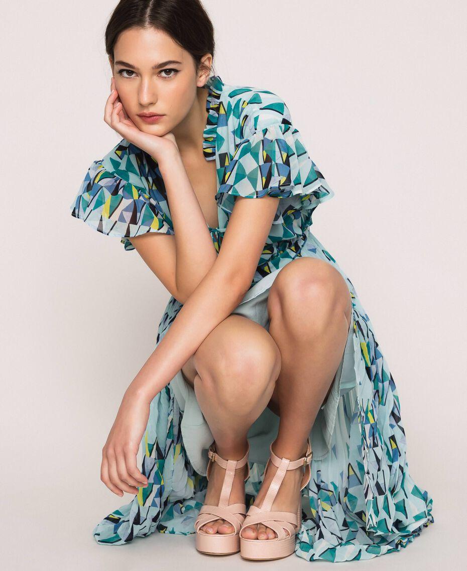 T-Bar-Sandalette aus Leder Blütenknospenrosa Frau 201TCP070-0S