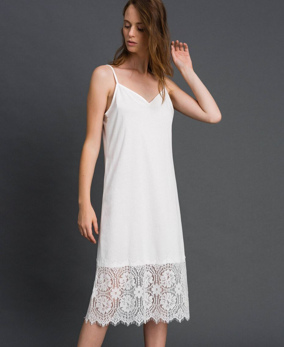 Robe nuisette avec dentelle Blanc Femme 192ST2195-01