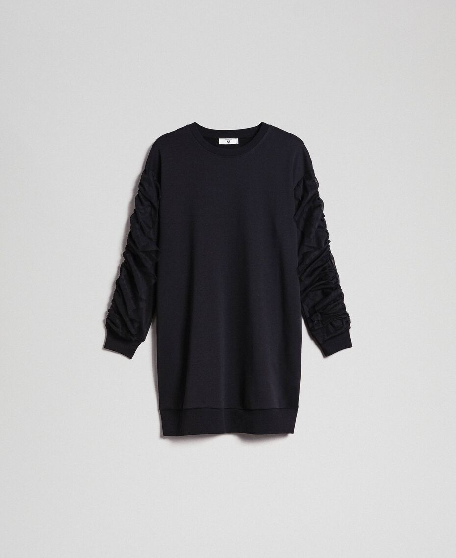 Plush dress with tulle flounce Black Woman 192LI2TCC-0S