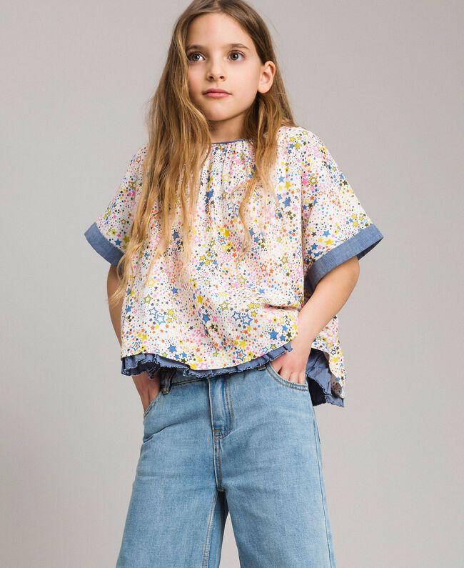 Muslin blouse with print Mini Stars Print Child 191GJ2531-04