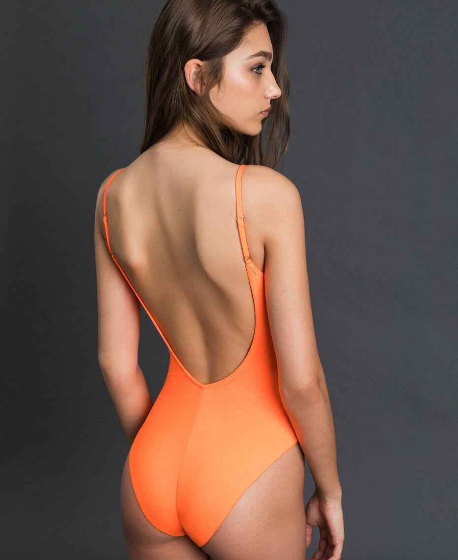 One-piece swimsuit 'Elettra x Twinset' Leopard Print / Fluorescent Orange Woman 191TQM022-05
