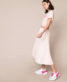 Юбка-миди из блестящей искусственной кожи Розовый Бутон женщина 201TP220A-03