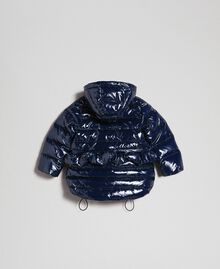 Real down puffer jacket with frill Blue Night Child 192GB2580-0S