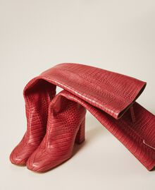 """Leather boots with crocodile print """"Cherry"""" Red Croc Print Woman 202TCP07C-02"""