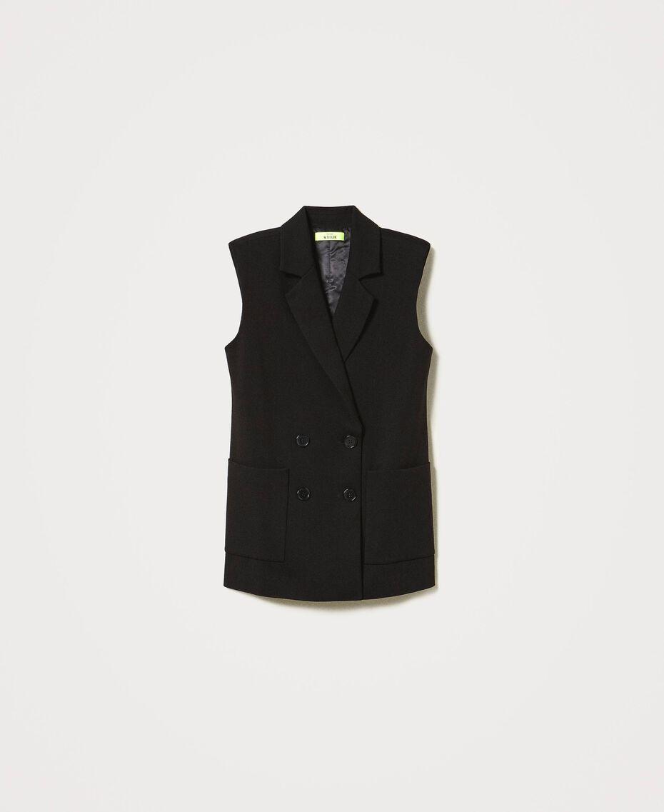Oversize-Weste mit Taschen Schwarz Frau 211MT2360-0S