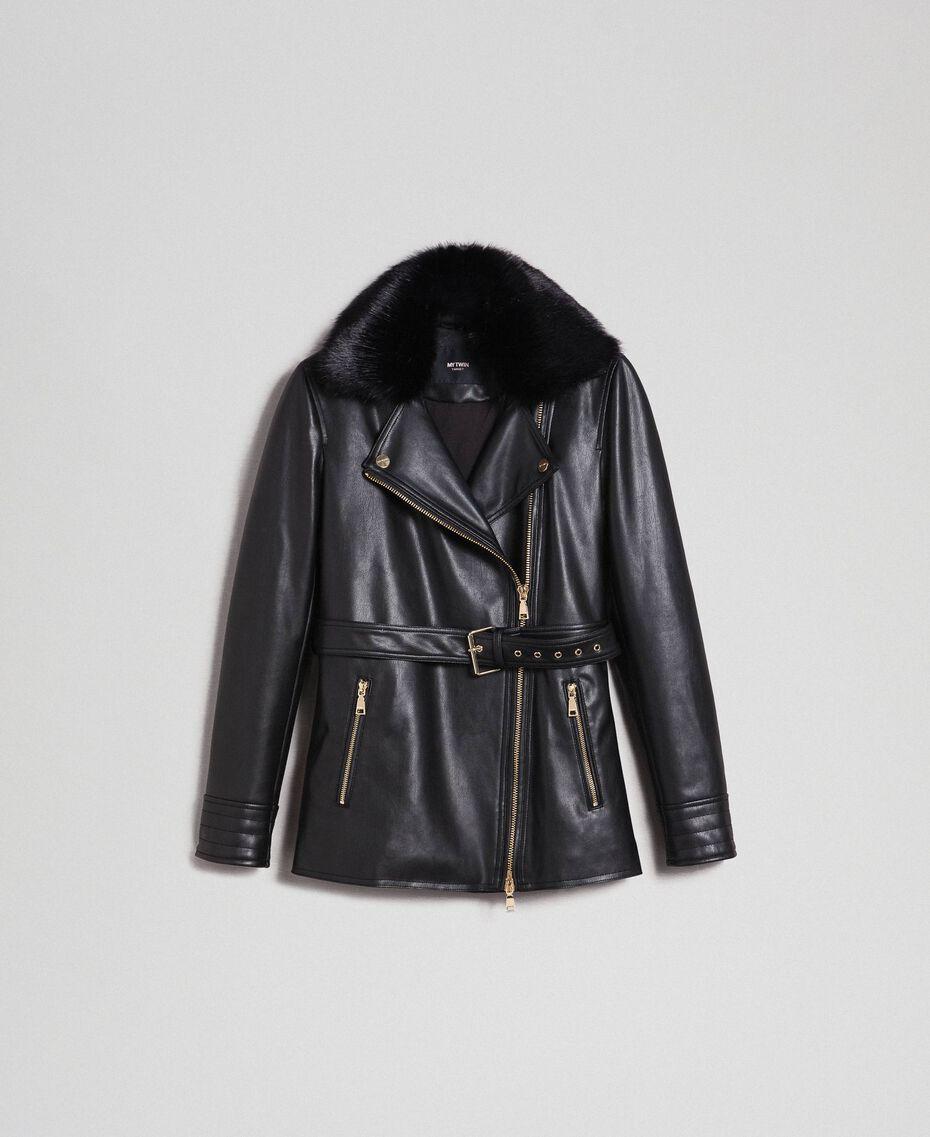Perfecto long en similicuir avec ceinture Noir Femme 192MP2030-0S