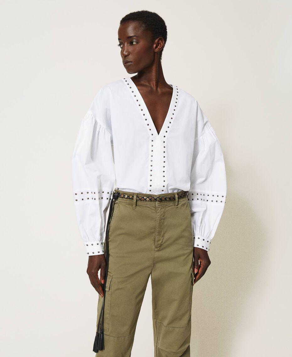 Blouse en popeline avec clous Blanc Femme 211TT2482-01