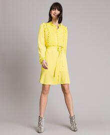 Hemdblusenkleid aus Seidenmischung mit Rüschen Gelb Frau 191TP2137-04