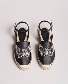 Leather espadrilles with jewelry butterfly Black Woman 191TCP10A-04