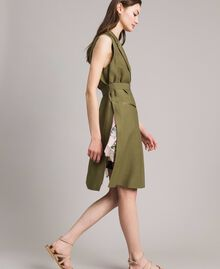 "Linen envers satin long waistcoat ""Olive"" Green Woman 191TT2300-04"