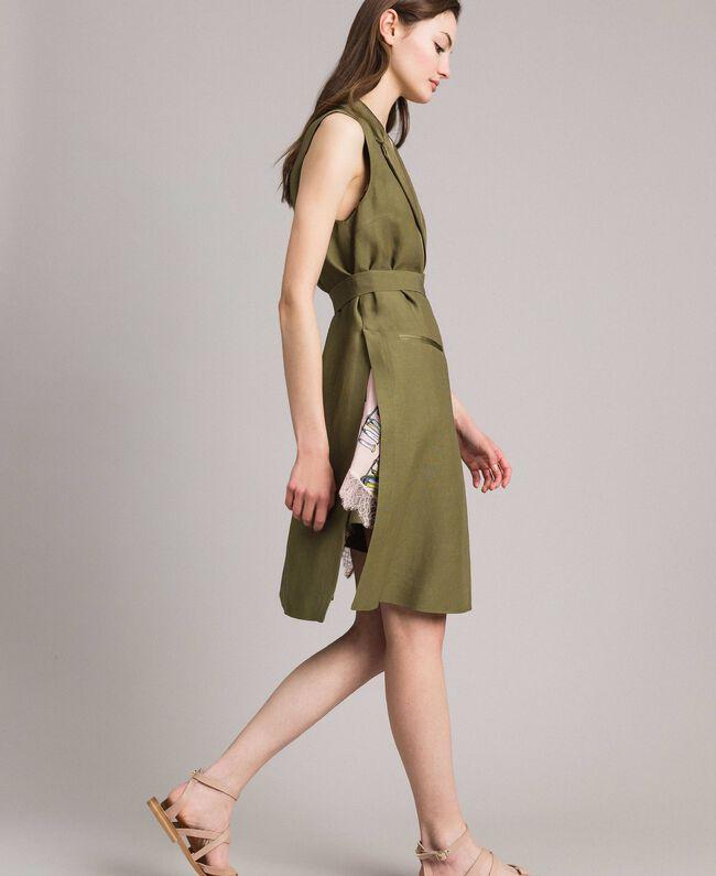 """Gilet long en lin envers satin Vert """"Olive"""" Femme 191TT2300-04"""