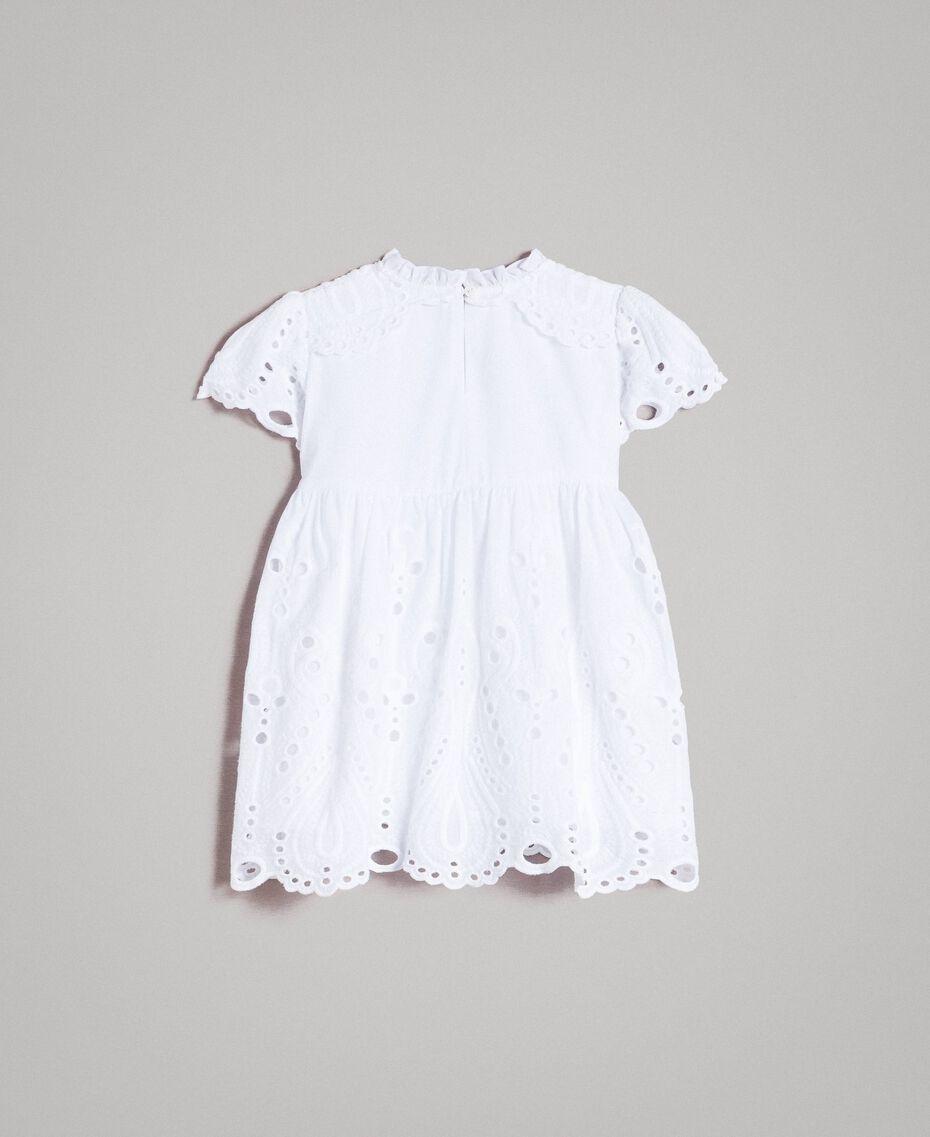 Musselin-Kleid mit Lochstickerei-Verzierung Weiß Kind 191GB2620-0S