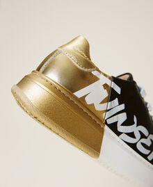 Sneakers de dos colores con logotipo Bicolor Negro / Oro Niño 212GCJ050-02