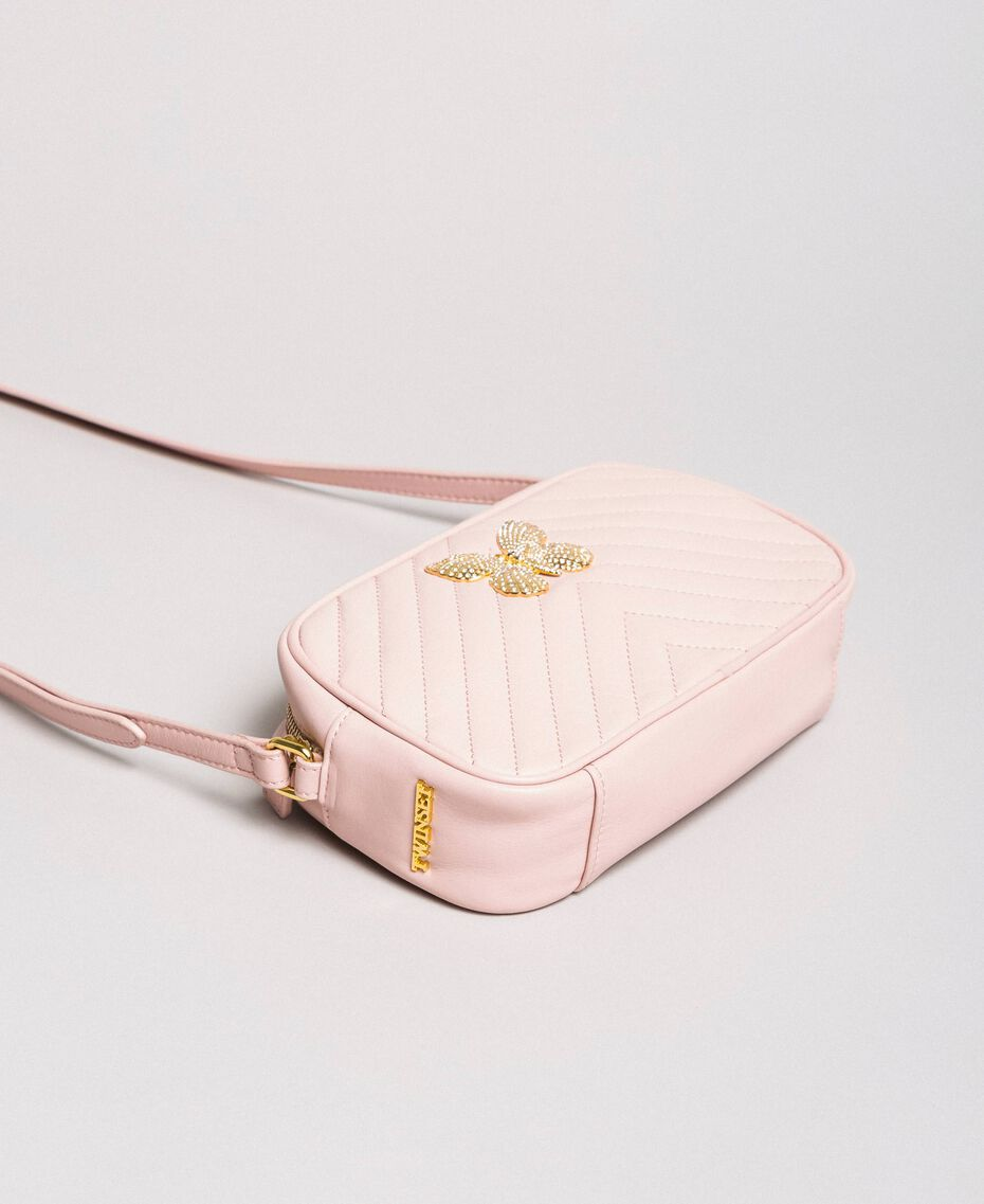Matelassé leather shoulder bag Pink Pearl Woman 191TA7195-02