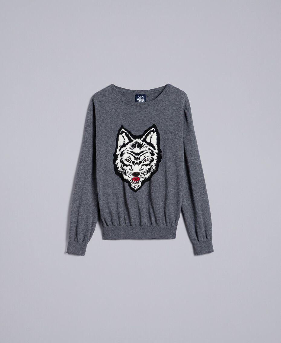 Pullover aus Wollmischung Durchschnittgrau-Mélange Mann UA83H1-0S