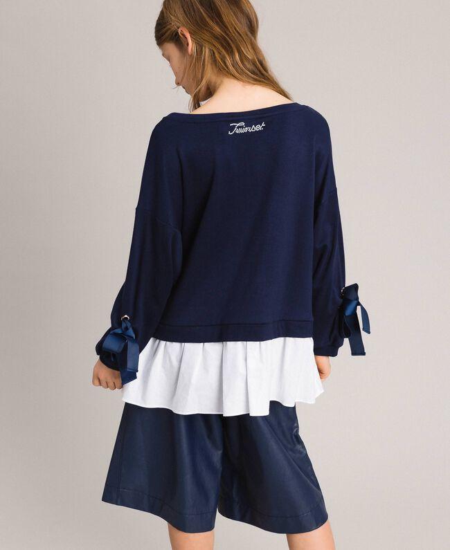 Milan stitch and poplin sweatshirt Two-tone Indigo / Optical White Child 191GJ2212-03