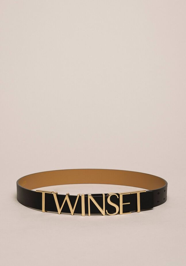 Leather belt with lettering logo