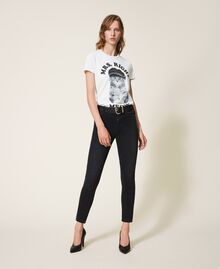 Push up jeans with chain and rhinestones Black Denim Woman 202MP2420-0T