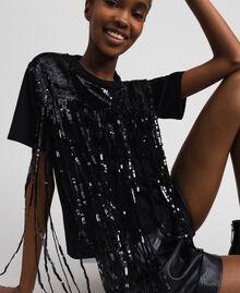 T-shirt avec franges en sequins Noir Femme 192MT2350-03