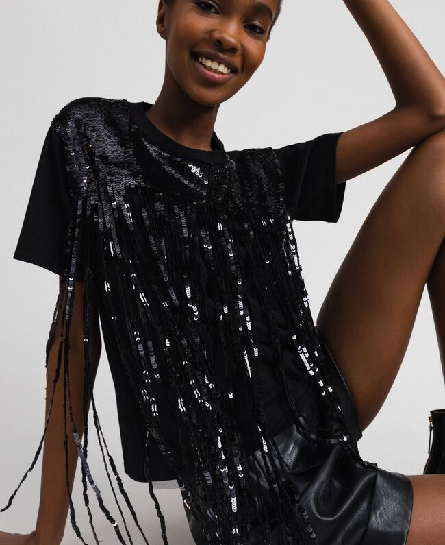 T-shirt with sequinned fringes Black Woman 192MT2350-03