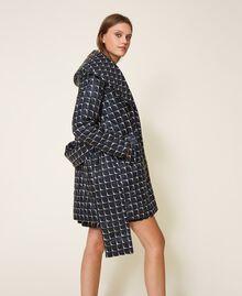 """Optical print puffer jacket Black /""""Nude"""" Beige Optical Print Woman 202ST2190-02"""